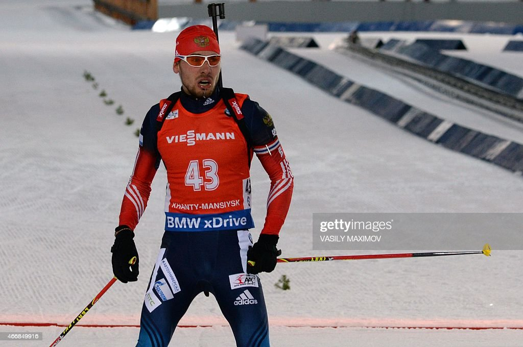 Russia's Anton Shipulin reacts after crossing the finish line in the men`s 10 km sprint of the IBU Biathlon World Cup in the Siberian city of Khanty-Mansiysk, on March 19, 2015. Frances Martin Fourcade won the competition, Russia's Anton Shipulin placed second and Germanys Benedikt Doll placed third.
