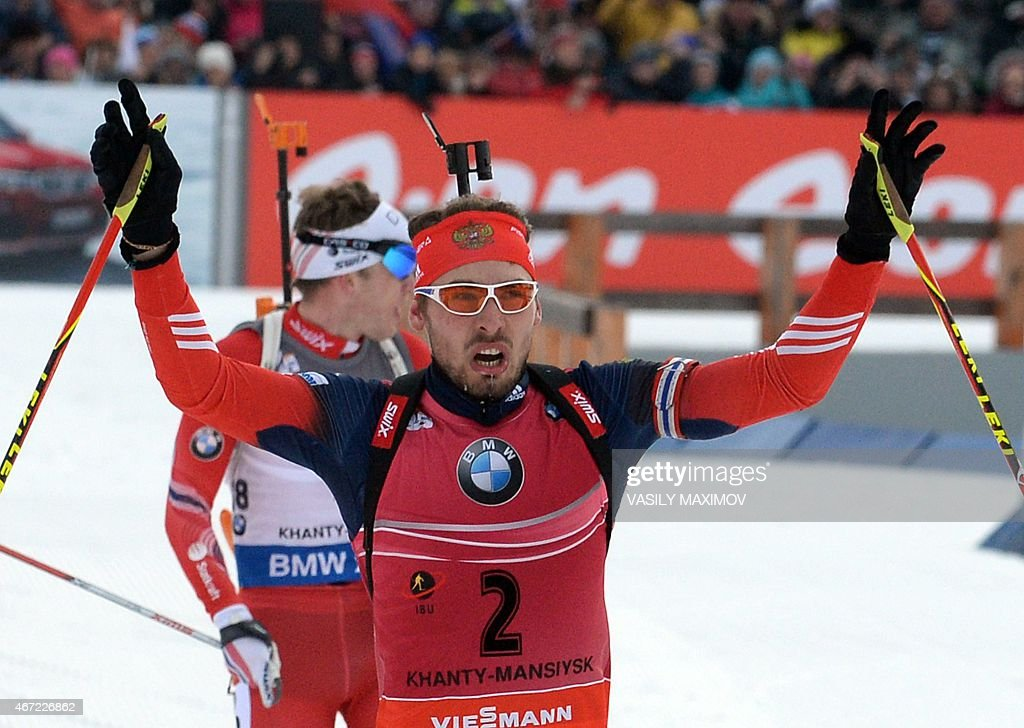 Russia's Anton Shipulin reacts as he crosses the finish line to place second in the men's 15 km mass start event of the IBU Biathlon Word Cup in the Siberian city of Khanty-Mansiysk, on March 22, 2015.
