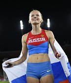 Russia's Anzhelika Sidorova holding Russia's flag jubilates after she won the Women's Pole Vault final during the European Athletics Championships at...