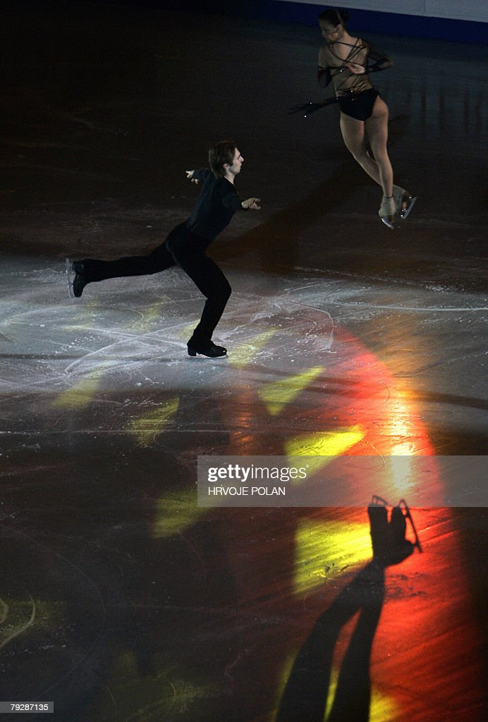 Russia's Arina Ushakova and Sergei Karev perform an exhibition program at the Dom Sportova Arena in Zagreb 27 January 2008 during the gala of the...