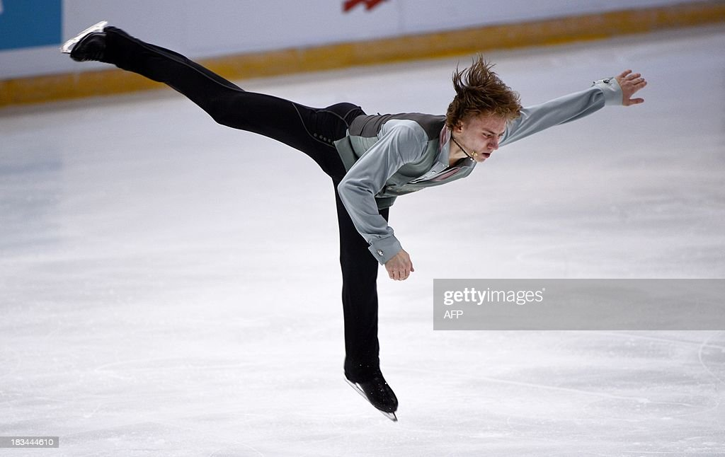 Russia's Artur Gachinski performs during men's free program of the figure skating Finlandia Trophy event in Espoo, Finland on October 6, 2013.