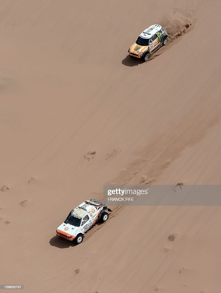 Russia's Boris Gadasin on G-Force Proto (L) and Russia's driver Leonid Novitskiy on Mini compete during the Stage 12 of the 2013 Dakar Rally between Fiambala in Argentina and Copiapo in Chile, on January 17, 2013. The rally is taking place in Peru, Argentina and Chile from January 5 to 20. AFP PHOTO / FRANCK FIFE