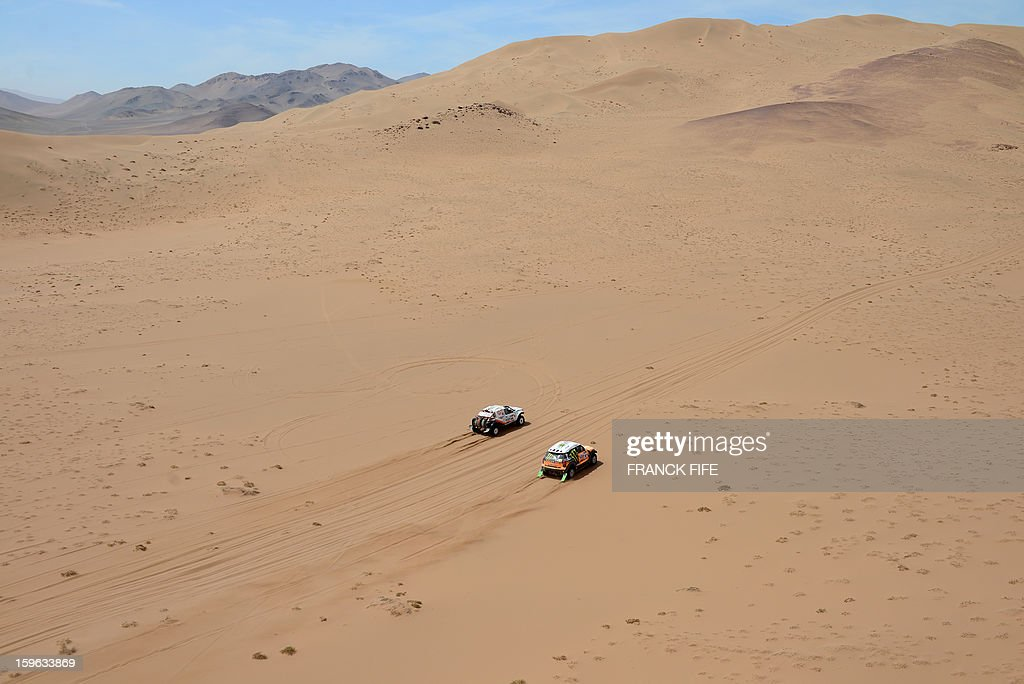 Russia's Boris Gadasin on G-Force Proto (L) and Russia's driver Leonid Novitskiy on Mini compete during the Stage 12 of the 2013 Dakar Rally between Fiambala in Argentina and Copiapo in Chile, on January 17, 2013. The rally is taking place in Peru, Argentina and Chile from January 5 to 20. AFP PHOTO / FRANCK FIFEduring the Stage 12 of the 2013 Dakar Rally between Fiambala in Argentina and Copiapo in Chile, on January 17, 2013. The rally is taking place in Peru, Argentina and Chile from January 5 to 20.