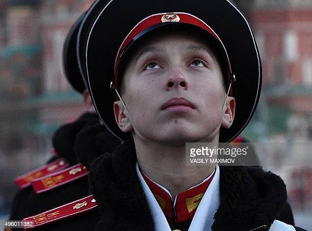 Russia's cadets take part in a rehearsal of a ceremony to commemorate the 74th anniversary of the 1941 parade at the Red Square in Moscow on November...