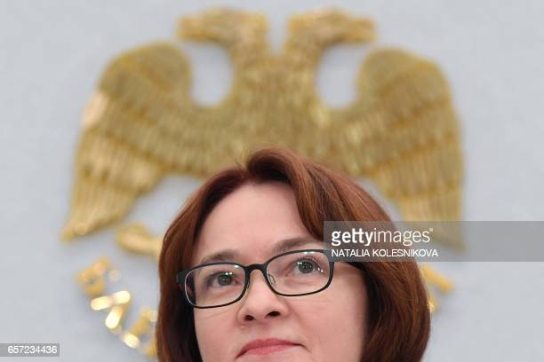 Russia's Central Bank chief Elvira Nabiullina holds a press conference in Moscow on March 24 2017 Russia's central bank cut its key rate on March 24...