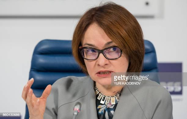 Russia's Central bank chief Elvira Nabiullina speaks during a presentation of the new 2000 and 200 ruble banknotes in Moscow on October 12 2017 / AFP...