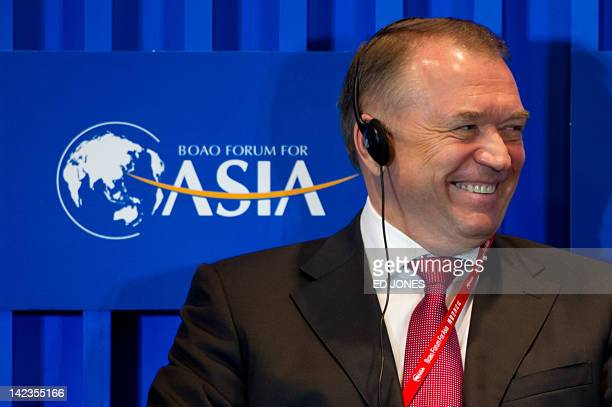 Russia's Chamber of Commerce chairman Sergei Katyrin attends a forum entitled 'Soft Landing Tools Available for Emerging Economies' during the Boao...