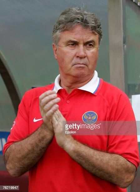 Russia's coach Guus Hiddink looks on during the friendly international soccer match between Russia and Poland on August 22 2007 in Moscow Russia