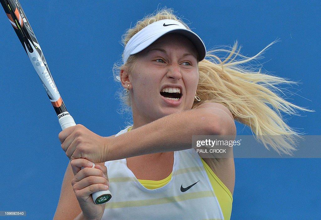 Russia's Daria Gavrilova hits a return against Ukraine's Lesia Tsurenko during their women's singles match on day four of the Australian Open tennis tournament in Melbourne on January 17, 2013.
