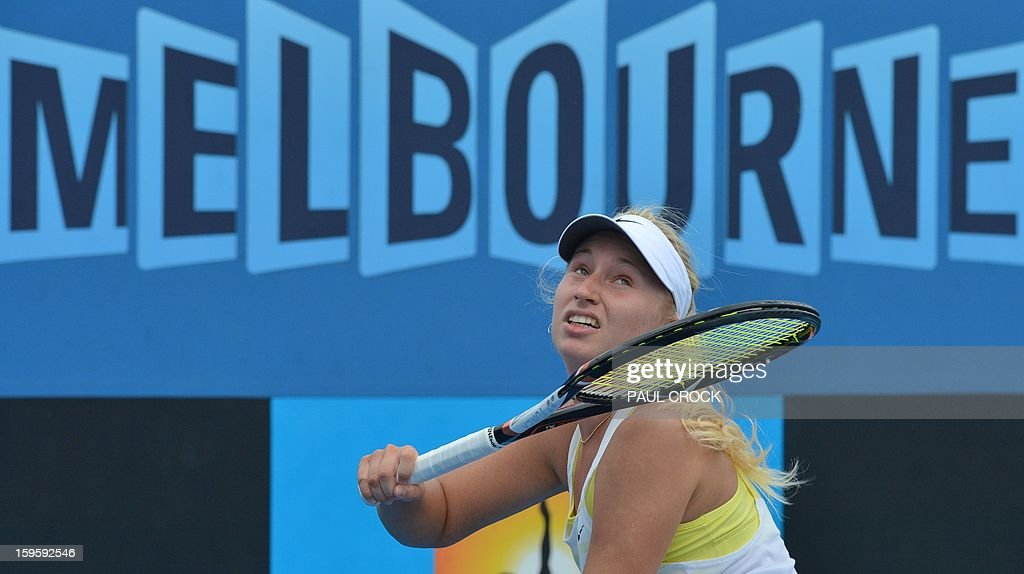 Russia's Daria Gavrilova hits a return against Ukraine's Lesia Tsurenko during their women's singles match on day four of the Australian Open tennis tournament in Melbourne on January 17, 2013.