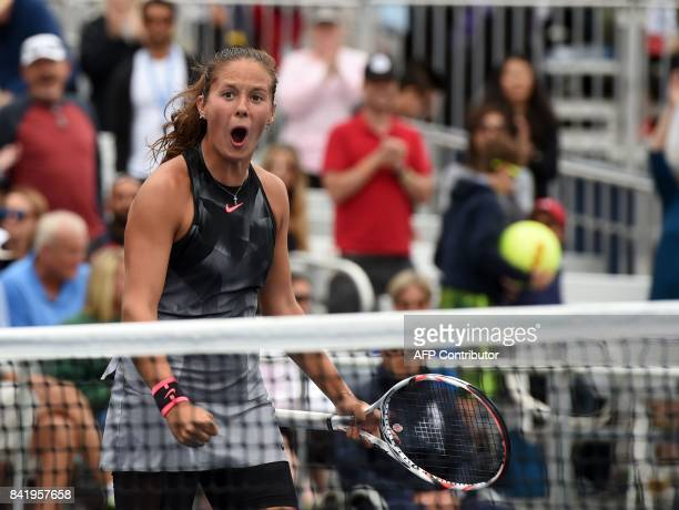 Russia's Darya Kasatkina celebrates her victory against Latvia's Jelena Ostapenko during their Qualifying Women's Singles match at the 2017 US Open...