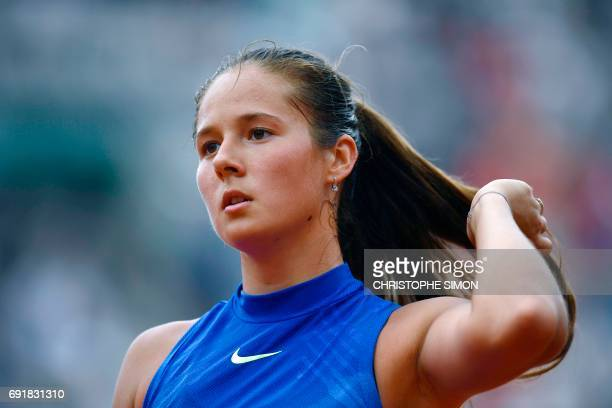 Russia's Darya Kasatkina looks on during her tennis match against Romania's Simona Halep during their tennis match at the Roland Garros 2017 French...