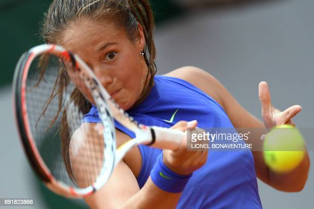 Russia's Darya Kasatkina returns the ball to Romania's Simona Halep during their tennis match at the Roland Garros 2017 French Open on June 3 2017 in...