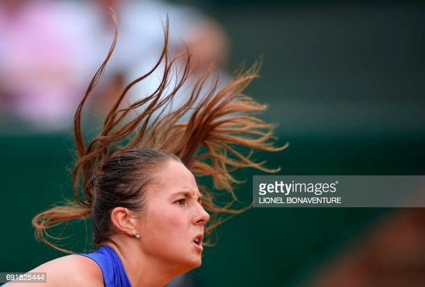Russia's Darya Kasatkina serves the ball to Romania's Simona Halep during their tennis match at the Roland Garros 2017 French Open on June 3 2017 in...