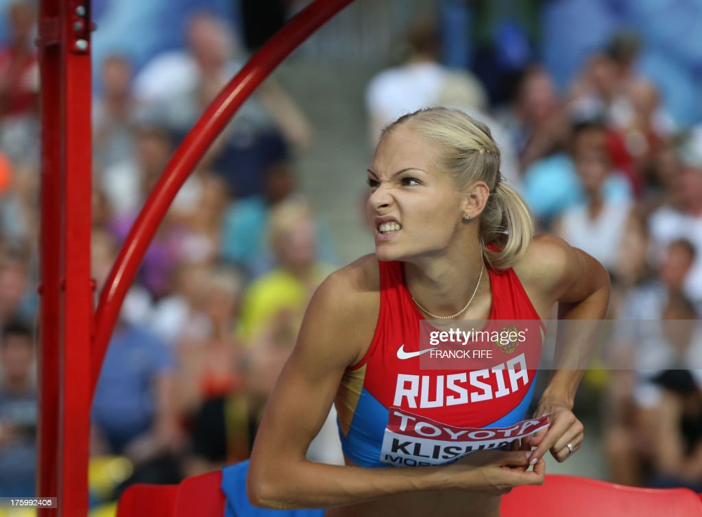 Russia's Darya Klishina misses a jump during the women's long jump final at the 2013 IAAF World Championships at the Luzhniki stadium in Moscow on August 11, 2013.
