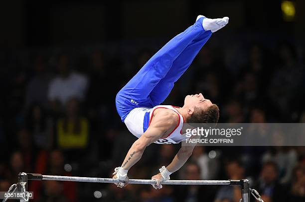 Russias David Belyavskiy performs during the Mens Horizontal Bar competition of the European Artistic Gymnastics Championships 2016 in Bern...