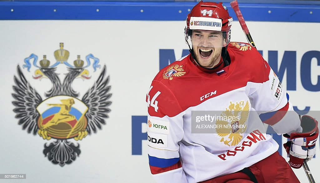 Russia's defenceman Yegor Yakovlev celebrates a goal during the Channel One Cup of the Euro Hockey Tour ice hockey match between Russia and Finland...