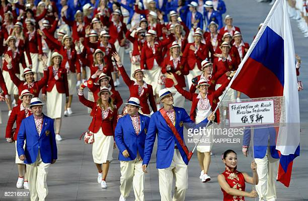 Russia's delegation parades during the 2008 Beijing Olympic Games opening ceremony on August 8 2008 at the National Stadium in Beijing Over 10000...