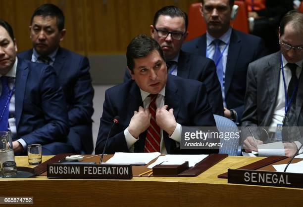Russia's Deputy Permanent Representative to the UN Vladimir Safronkov speaks during a meeting of the United Nations Security Council at UN...