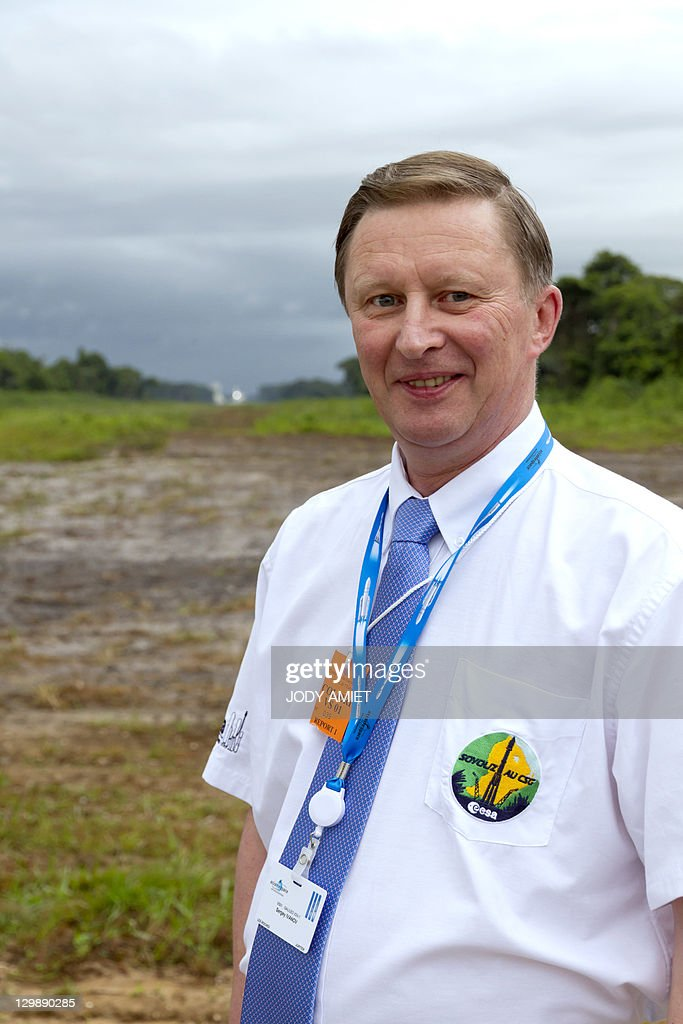 Russia's deputy Prime Minister Sergei Ivanov poses in Sinnamary 12km from Kourou French Guiana before a Soyuz rocket carrying the first two...
