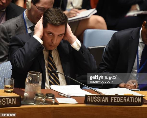 TOPSHOT Russia's deputy UN ambassador Vladimir Safronkov attends the United Nations Security Council meet in an emergency session at the UN on April...