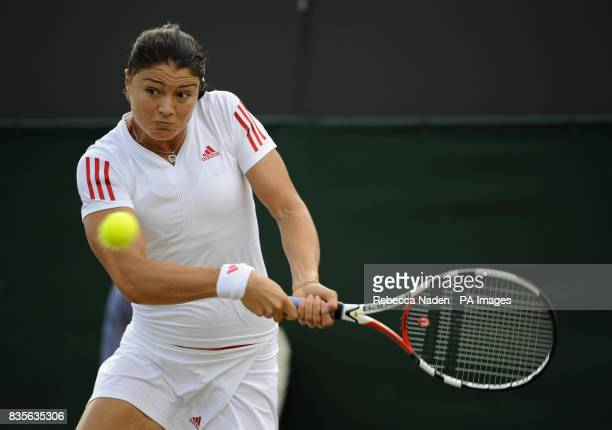 Russia's Dinara Safina in action against Belgium's Kirsten Flipkens during the 2009 Wimbledon Championships at the All England Lawn Tennis and...