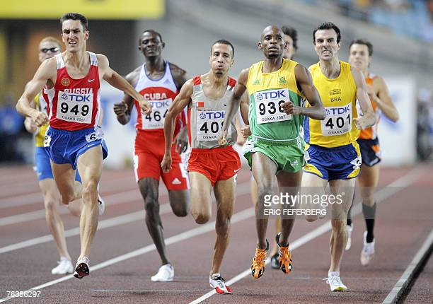Russia's Dmitriy Bogdanov Bahrein's Rashid Ramzi South Africa's Mbulaeni Mulandzi and Sweden's Fabiano Pecanha compete during the men's 800m first...