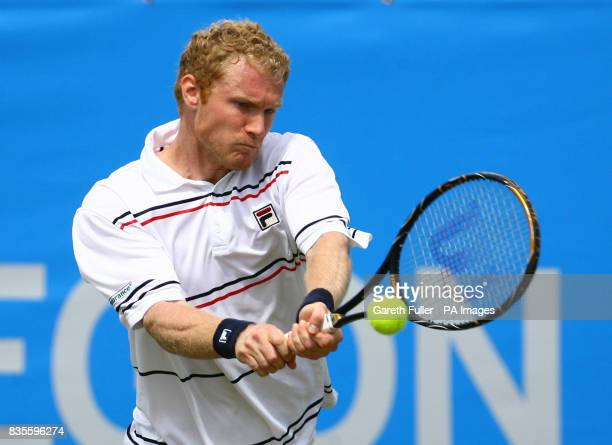 Russia's Dmitry Tursunov in action against Alex Bogdanovic during the AEGON International at Devonshire Park Eastbourne