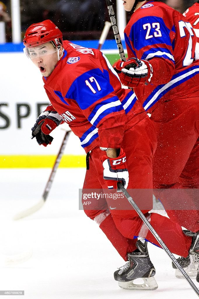 Russia's Eduard Gimatov reacts after scoring during the World Junior Hockey Championships bronze medal match between Canada and Russia at Malmo Arena in Malmo, Sweden on January 5, 2014. AFP PHOTO / TT NEWS AGENCY / LUDVIG THUNMAN +++ SWEDEN OUT +++