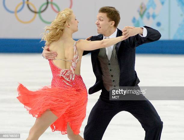 Russia's Ekaterina Bobrova and Dimitri Soloviev perform their ice dancing short program at the Iceberg Skating Palace during the Winter Olympics in...