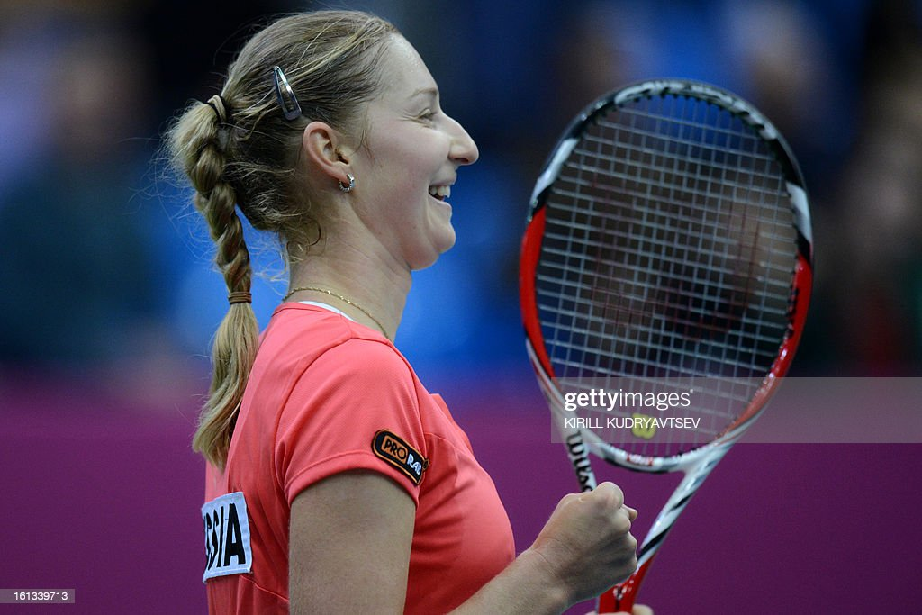 Russia's Ekaterina Makarova reacts after her victory over Japan's Kimiko Date-Krumm during the International Tennis Federation Fed Cup quarterfinal match between Russia and Japan in Moscow on February 10, 2013.