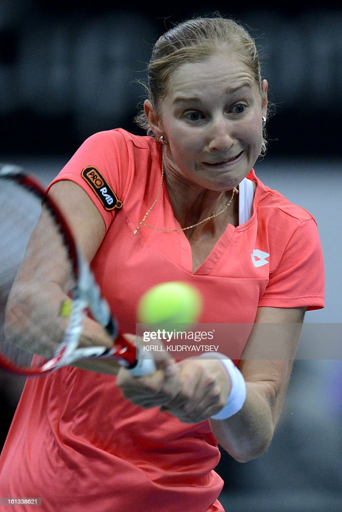 Russia's Ekaterina Makarova returns a ball to Japan's Kimiko Date-Krumm during the International Tennis Federation Fed Cup quarterfinal match between Russia and Japan in Moscow on February 10, 2013.