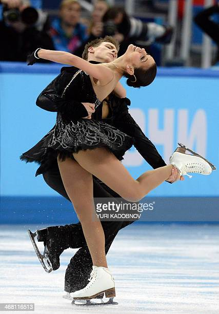 Russia's Elena Ilinykh and Russia's Nikita Katsalapov perform in the Figure Skating Team Ice Dance Free Dance at the Iceberg Skating Palace during...