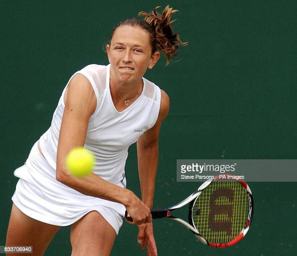 Russia's Elena Likovtseva in action against Slovakia's Daniela Hantuchova during The All England Lawn Tennis Championship at Wimbledon