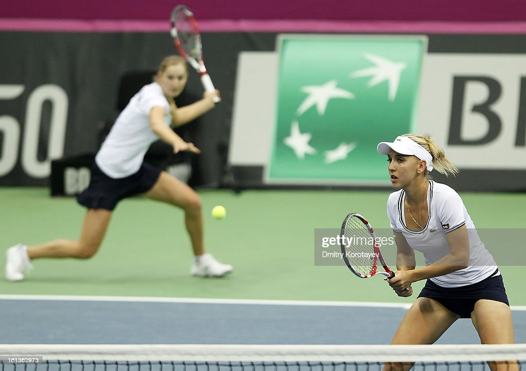 Russia's Elena Vesnina and Ekaterina Makarova in action during their doubles match against Japan's Ayumi Morita and Misaki Doi during day two of the Federation Cup 2013 World Group Quarterfinal match between Russia and Japan at Olympic Stadium on February 10, 2013 in Moscow, Russia.