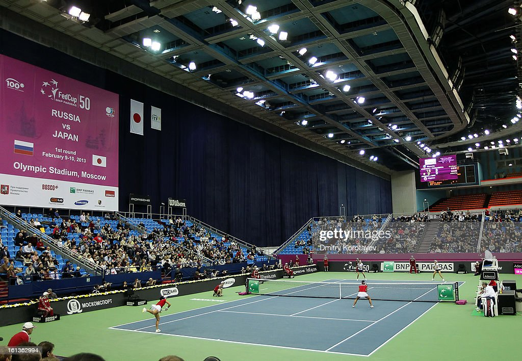 Russia's Elena Vesnina and Ekaterina Makarova in action during their doubles match against Japan's Ayumi Morita and Misaki Doi during day two of the Federation Cup 2013 World Group Quarterfinal match at Olympic Stadium on February 10, 2013 in Moscow, Russia.