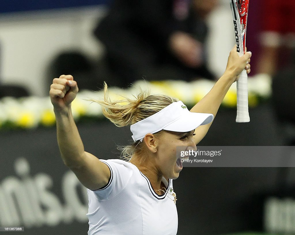 Russia's Elena Vesnina celebrates after winning a doubles match with Ekaterina Makarova against Japan's Ayumi Morita and Misaki Doi during day two of the Federation Cup 2013 World Group Quarterfinal match between Russia and Japan at Olympic Stadium on February 10, 2013 in Moscow, Russia.