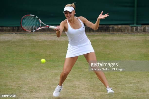 Russia's Elena Vesnina in action against Slovakia's Dominika Cibulkova
