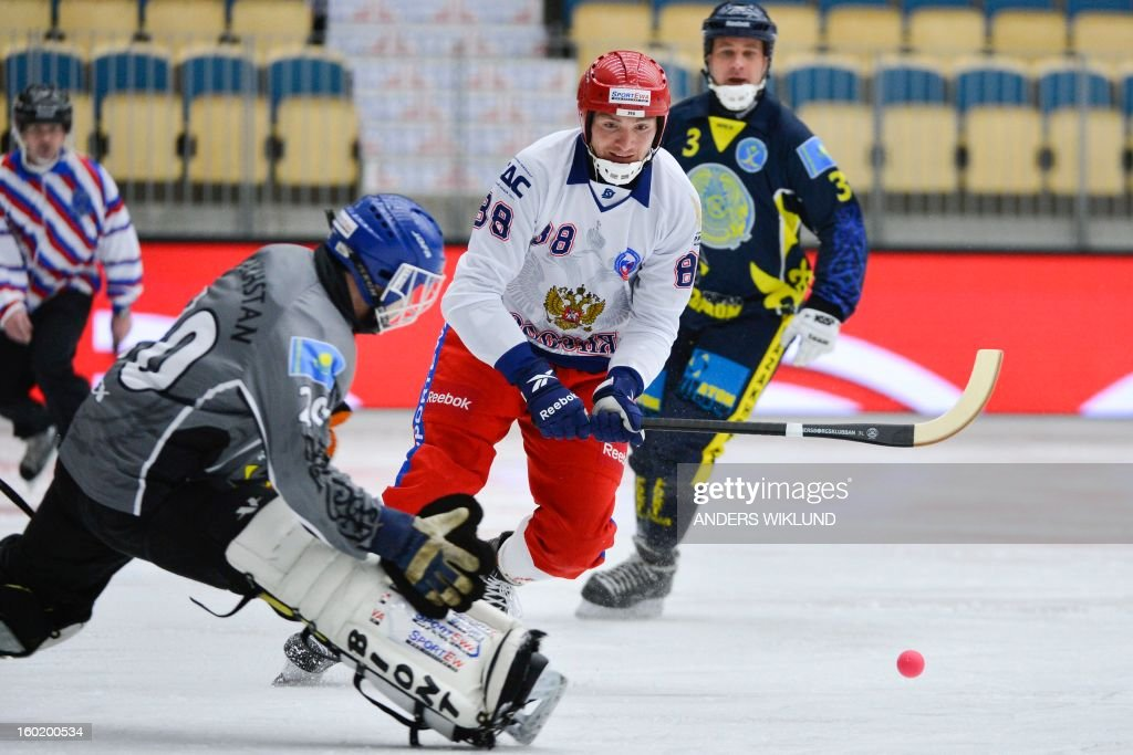 Russia's Evegeny Ivanushkin (C) scores the 2-0 past Kazakhstan's goal keeper Andrey Rein (L) while Kazakhstan's Mixail Dobrynin (in the background) looks on during the Bandy World Championship match between Russia and Kazakhstan in Vanersborg, Sweden, on January 27, 2013.