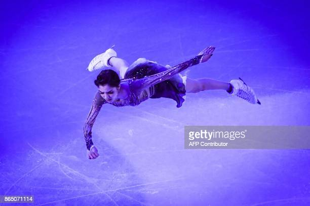 TOPSHOT Russia's Evgenia Medvedeva performs during the galaexhibition at the ISU Grand Prix Rostelecom Cup in Moscow on October 22 2017 / AFP PHOTO /...