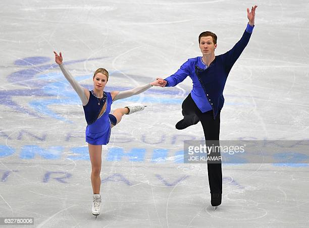 Russia's Evgenia Tarasova and Vladimir Morozov compete during the pairs free skating competition of the European Figure Skating Championship in...