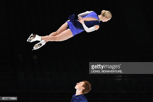TOPSHOT Russia's Evgenia Tarasova and Vladimir Morozov perform during the Pairs Free program at the ISU Grand Prix of Figure Skating in Paris on...