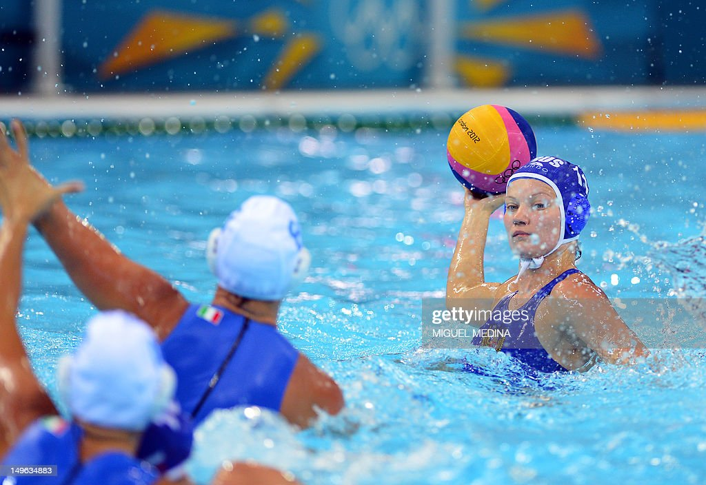 Russia's Evgeniya Ivanova prepares to shoot in the women's water polo preliminary round groupe B match against Italy at the Water Polo Arena in...