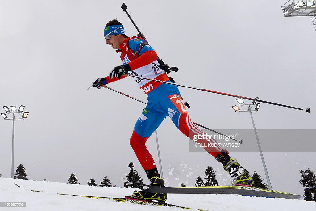 Russia's Evgeny Ustyugov competes in Men 7,5 km Sprint during IBU World Cup Biathlon at Laura Cross Country and Biathlon Center in Russian Black Sea resort of Sochi on March 9, 2013. France's Martin Fourcade took the first place ahead of Ustyugov and Norway's Henrik L'Abee-Lund.