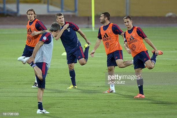 Russia's football players attend a training session at Ramat Gan Stadium near Tel Aviv on September 10 2012 on the eve of their 2014 World Cup...
