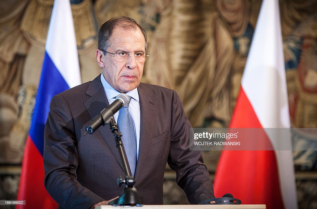 Russia's Foreign Minister Sergei Lavrov addresses a joint press conference in Warsaw, Poland on May 10, 2013. Russia is completing its delivery of surface-to-air missiles to Syria, Russian Foreign Minister Sergei Lavrov said, a move the United States has called destabilising.