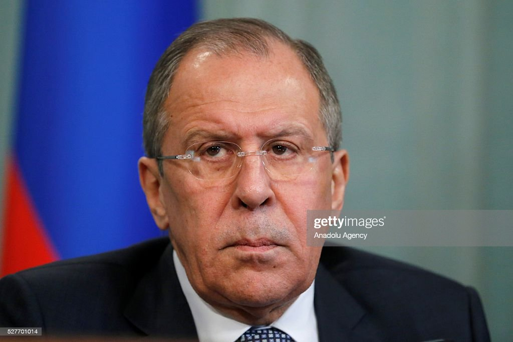 Russia's Foreign Minister Sergei Lavrov is seen during a joint press conference with Staffan de Mistura , UN Secretary-General's Special Envoy for Syria (not seen) after their meeting at the Russian Foreign Ministry's guest house in Moscow, Russia on May 3, 2016.