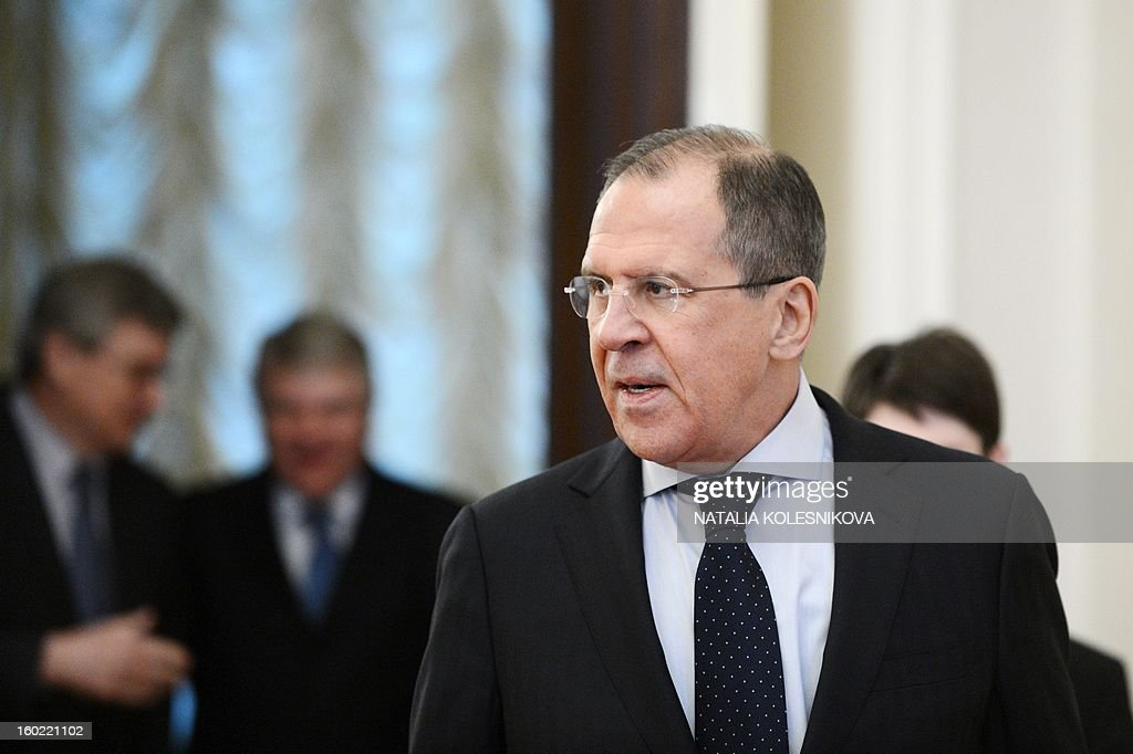 Russia's Foreign Minister Sergei Lavrov speaks in Moscow on January 28, 2013, during a meeting with Belgium's Foreign Minister Didier Reynders. AFP PHOTO / NATALIA KOLESNIKOVA