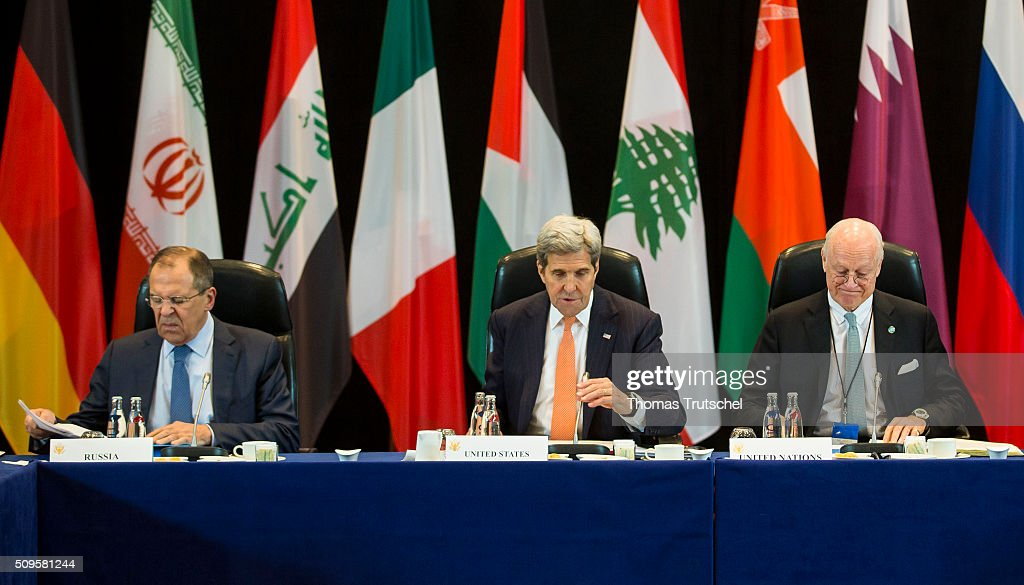 Russia's Foreign Minister Sergei Lavrov, US Secretary of State John Kerry (R) and United Nations special envoy to Syria Staffan de Mistura attends the meeting of the International Syria Support Group (ISSG) on Februar 11, 2016 in Munich, Germany. The participants will discuss the implementation of the Vienna principles, UN Security Council resolution 2254 on Syrian reconciliation and the continuation of the Geneva peace talks. (Photo by Thomas Trutschel/Photothek via Getty Images) Staffan de Mistura; John Kerry; Sergei Lavrov