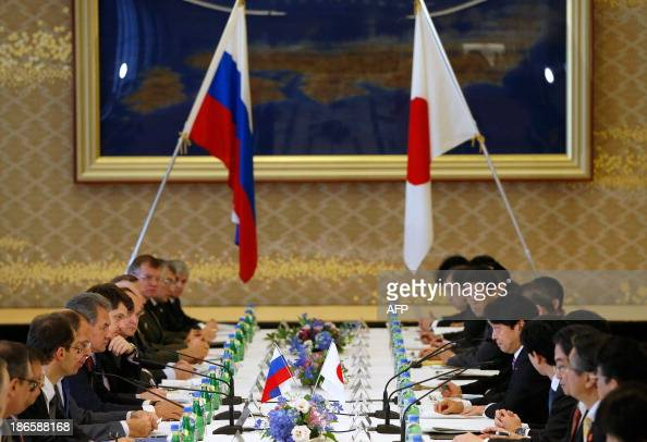 Russia's Foreign Minister Sergey Lavrov and Defence Minister Sergei Shoigu and Japan's Foreign Minister Fumio Kishida and Defense Minister Itsunori...